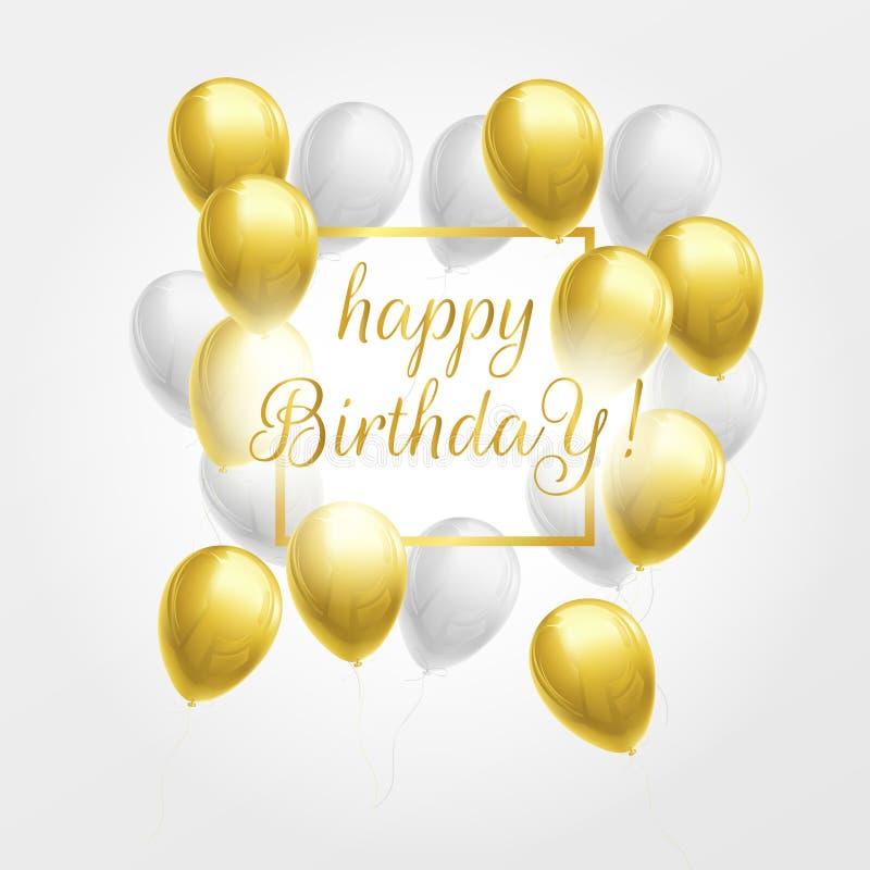 Gelukkige verjaardagskaart met gouden en witte ballons stock illustratie