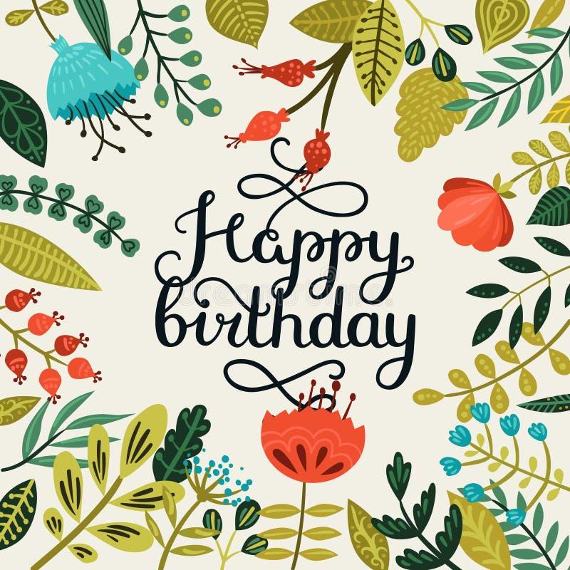 Gelukkige verjaardagskaart met hand het getrokken van letters voorzien stock illustratie