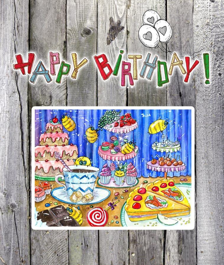 Gelukkige verjaardagskaart met het trekken op planken stock illustratie