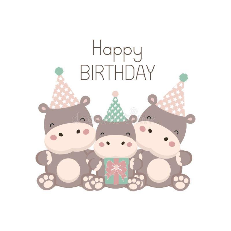 Gelukkige verjaardagskaart met leuk nijlpaardbeeldverhaal stock illustratie
