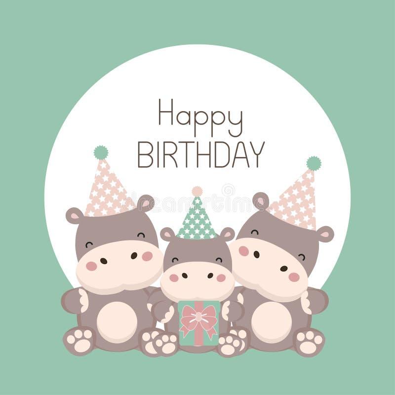 Gelukkige verjaardagskaart met leuk nijlpaardbeeldverhaal royalty-vrije illustratie