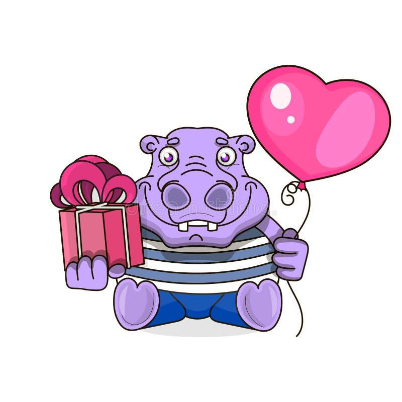 Gelukkige verjaardagskaart met leuke hippo royalty-vrije illustratie
