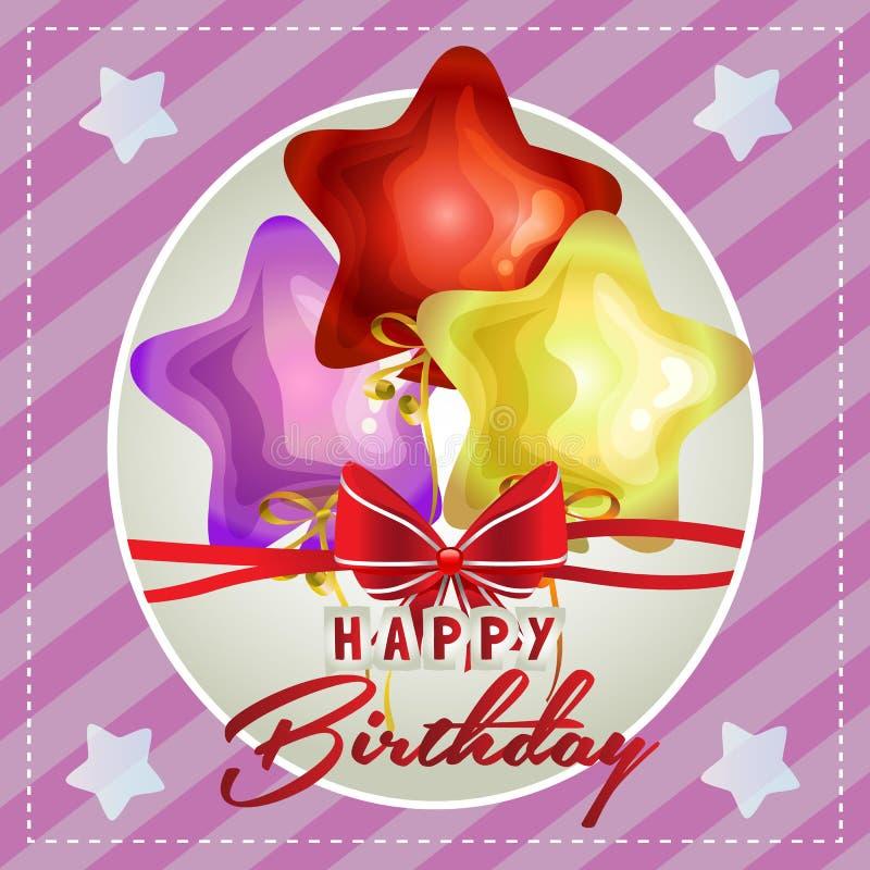 Gelukkige verjaardagskaart met leuke sterballon royalty-vrije illustratie