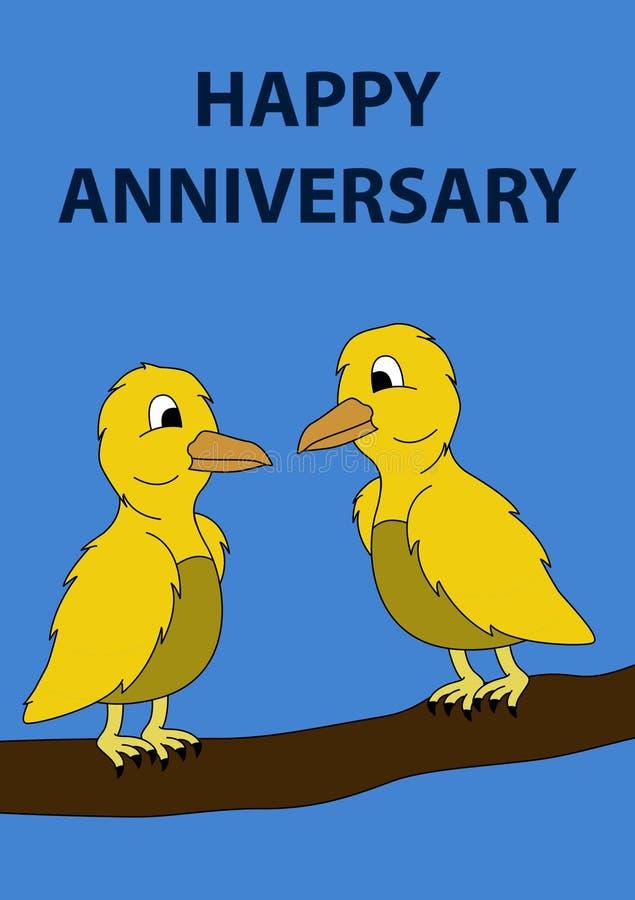 GELUKKIGE VERJAARDAGSkaart met twee gele vogels in een boom royalty-vrije illustratie