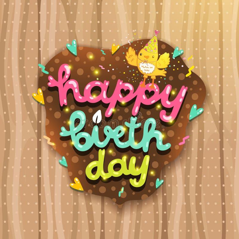 Gelukkige Verjaardagskaart met vogel en het van letters voorzien. vector illustratie