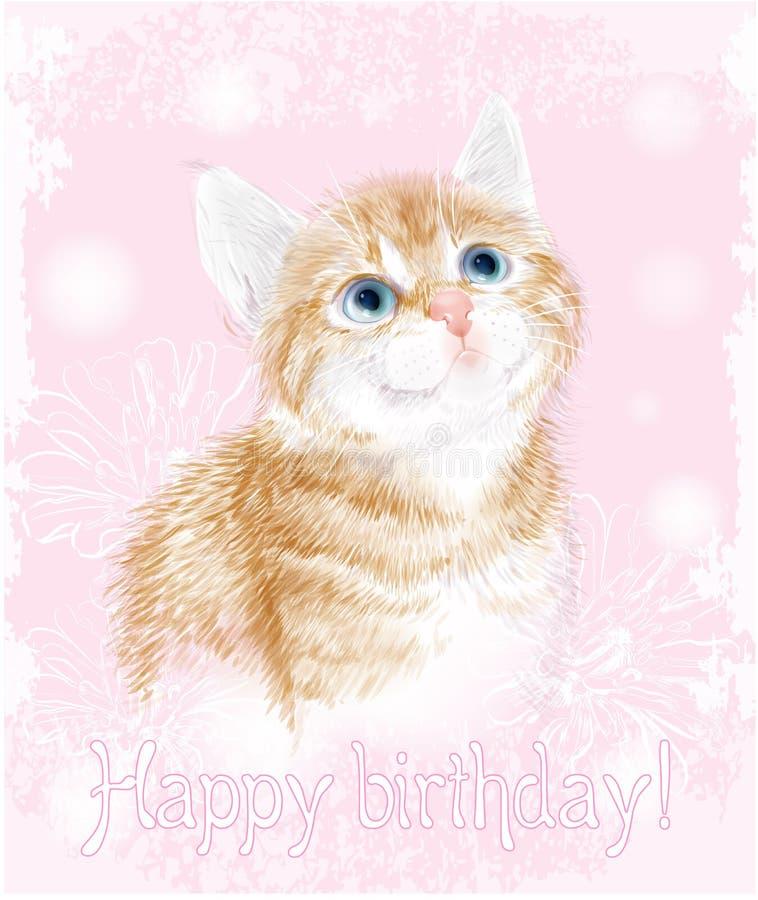 Gelukkige verjaardagskaart met weinig katje vector illustratie
