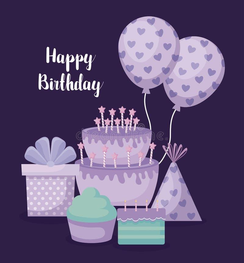 Gelukkige verjaardagskaart met zoete cake en vastgestelde pictogrammen stock illustratie