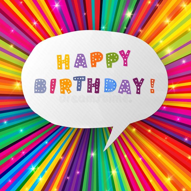 Gelukkige verjaardagskaart op kleurrijke stralenachtergrond royalty-vrije illustratie