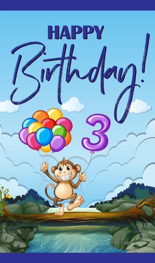 Gelukkige verjaardagskaart voor drie éénjarigen vector illustratie