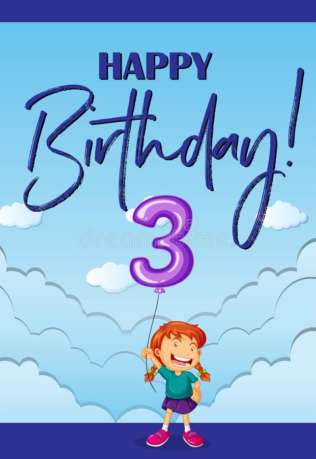 Gelukkige verjaardagskaart voor drie jaar oud stock illustratie