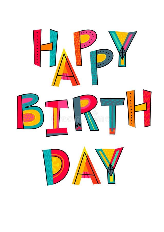 Gelukkige verjaardagstekst Typografie voor kaart, affiche, uitnodiging of royalty-vrije illustratie