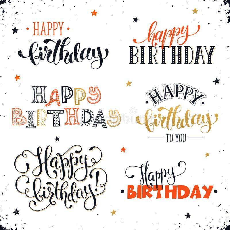 Gelukkige verjaardagsuitdrukkingen vector illustratie
