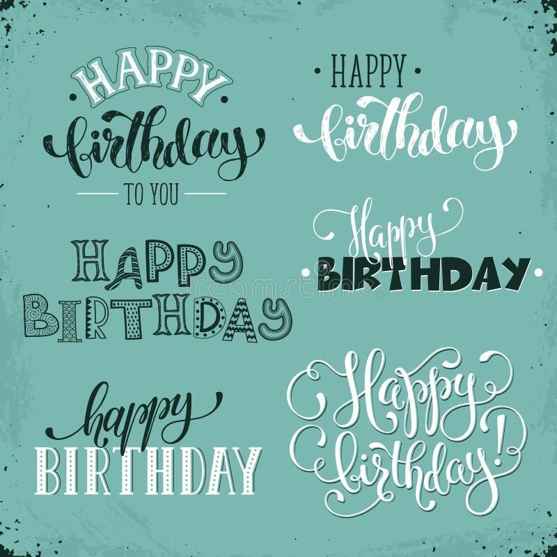 Gelukkige verjaardagsuitdrukkingen stock illustratie