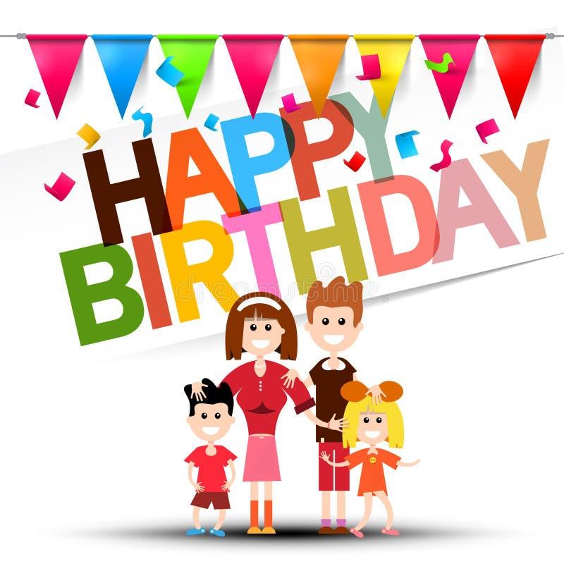 Gelukkige Verjaardagsviering met Vlaggen, Confettien vector illustratie