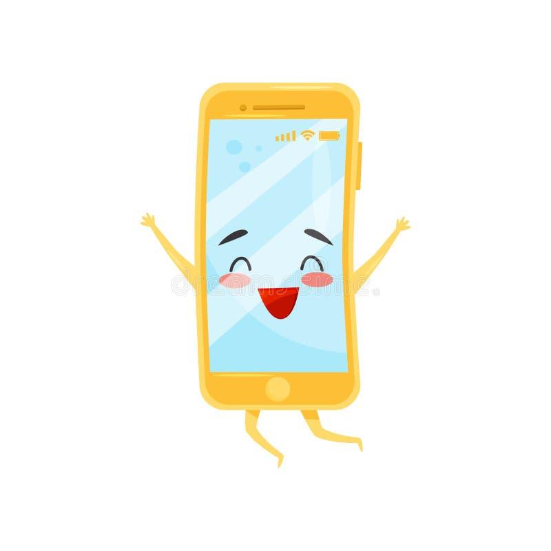 Gelukkige vermenselijkte mobiele telefoon in springende actie Smartphone met leuk gezicht Vlak vectorelement voor verkoopbanner royalty-vrije illustratie