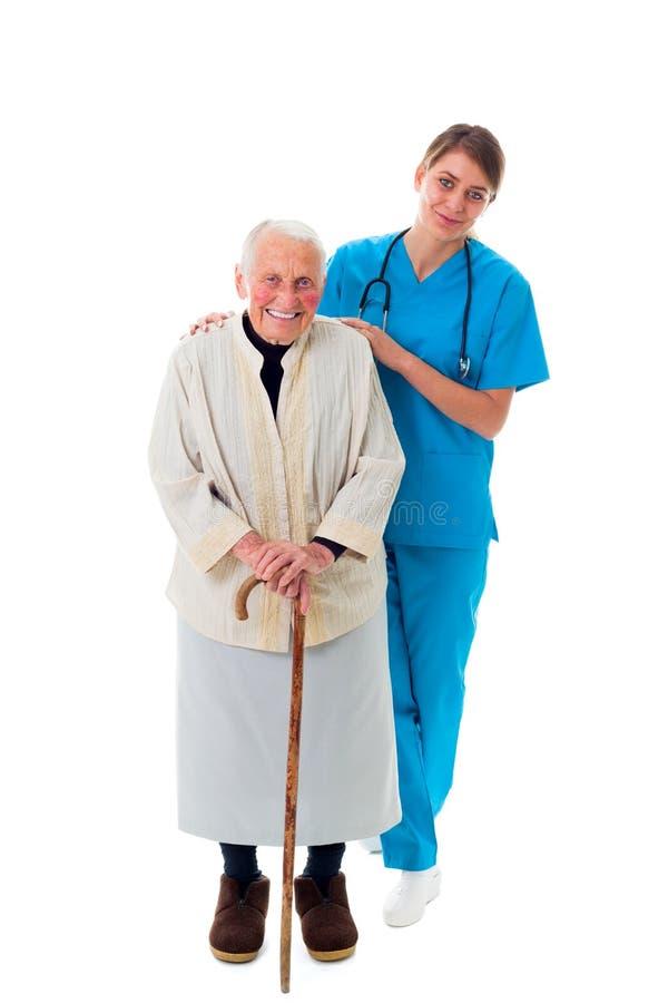Gelukkige verpleegster en patiënt royalty-vrije stock afbeelding