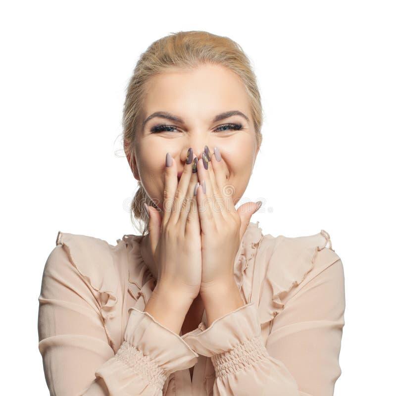 Gelukkige Verraste die Vrouw op Witte Achtergrond wordt geïsoleerd Lachend meisje, mooi gezicht royalty-vrije stock foto's