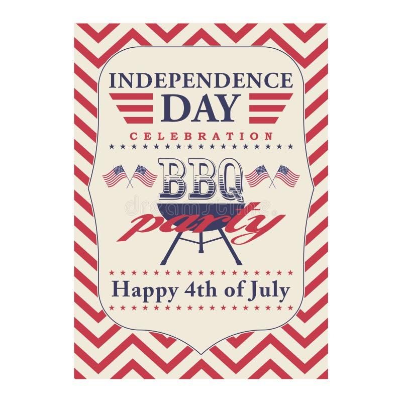 Gelukkige vierde van Juli-BBQ grillaffiche Malplaatje voor vierde van Juli-BBQ partij De Achtergrond van de de Onafhankelijkheids vector illustratie