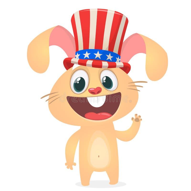 Gelukkige vierde van Juli-stickerkaart met beeldverhaalkonijn Vector illustratie stock illustratie