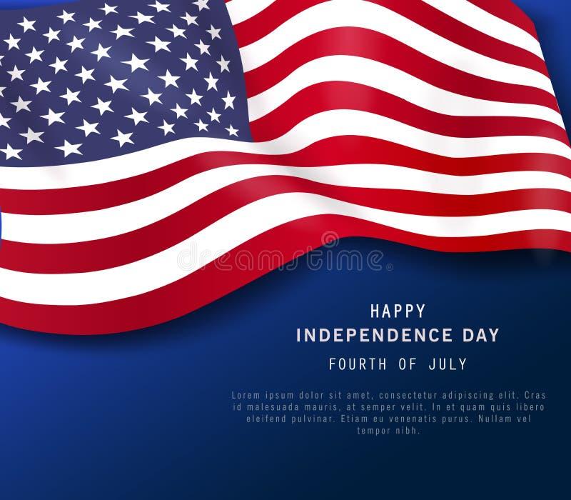 Gelukkige vierde van Juli-vakantiebanner Amerikaanse de Partijaffiche of vlieger van de Onafhankelijkheidsdag op marineblauwe ach stock illustratie