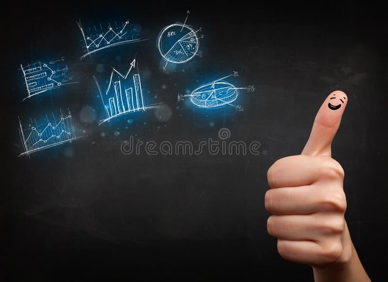 Gelukkige vinger smileys met blauwe grafiekpictogrammen en symbolen stock afbeelding
