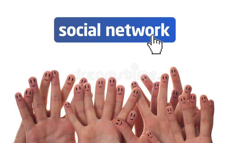 Gelukkige vingergezichten als sociaal netwerk stock foto