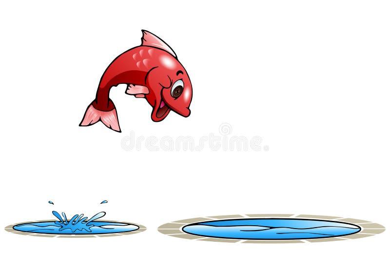 Gelukkige vissensprong aan andere pool stock illustratie