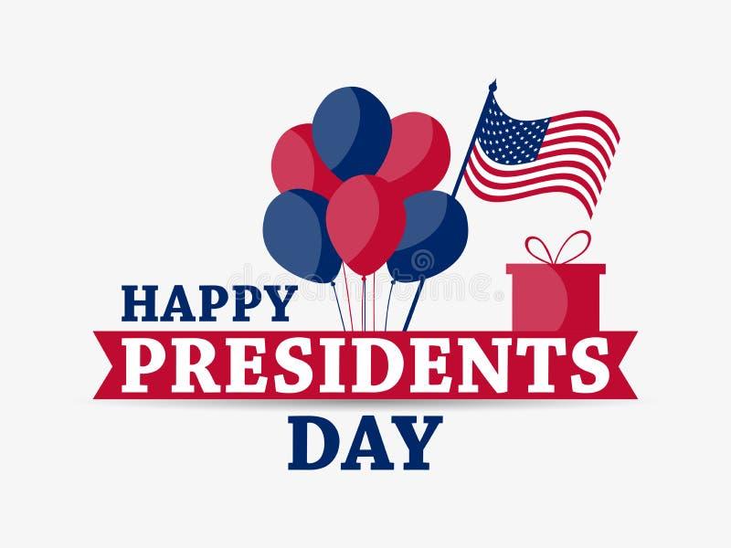 Gelukkige voorzittersdag Feestelijke illustratie voor groetkaart en affiche Ballons en giftdoos De vlag van de V Typografieontwer royalty-vrije illustratie