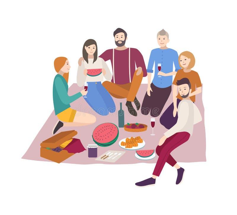 Gelukkige vrienden die diner hebben openlucht geïsoleerd op witte achtergrond Groepsportret van het jonge glimlachende mannen en  royalty-vrije illustratie