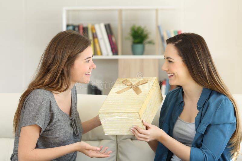 Gelukkige vrienden die een gift thuis geven royalty-vrije stock afbeelding