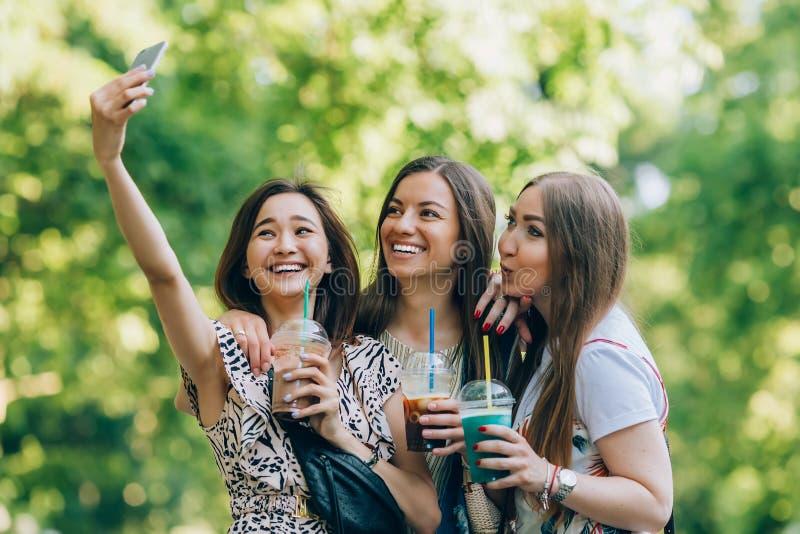 Gelukkige vrienden in het park op een zonnige dag Het portret van de de zomerlevensstijl van drie multiraciale vrouwen geniet van stock fotografie