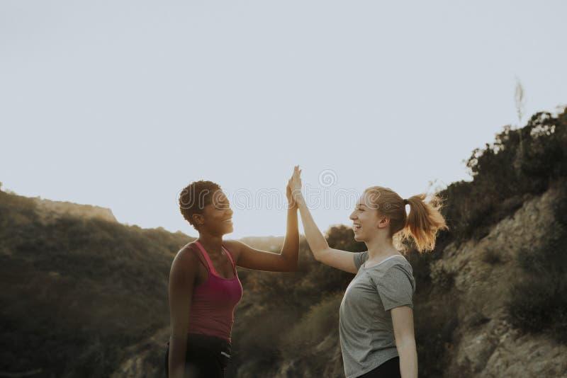 Gelukkige vrienden op een stijging in de heuvels stock foto's