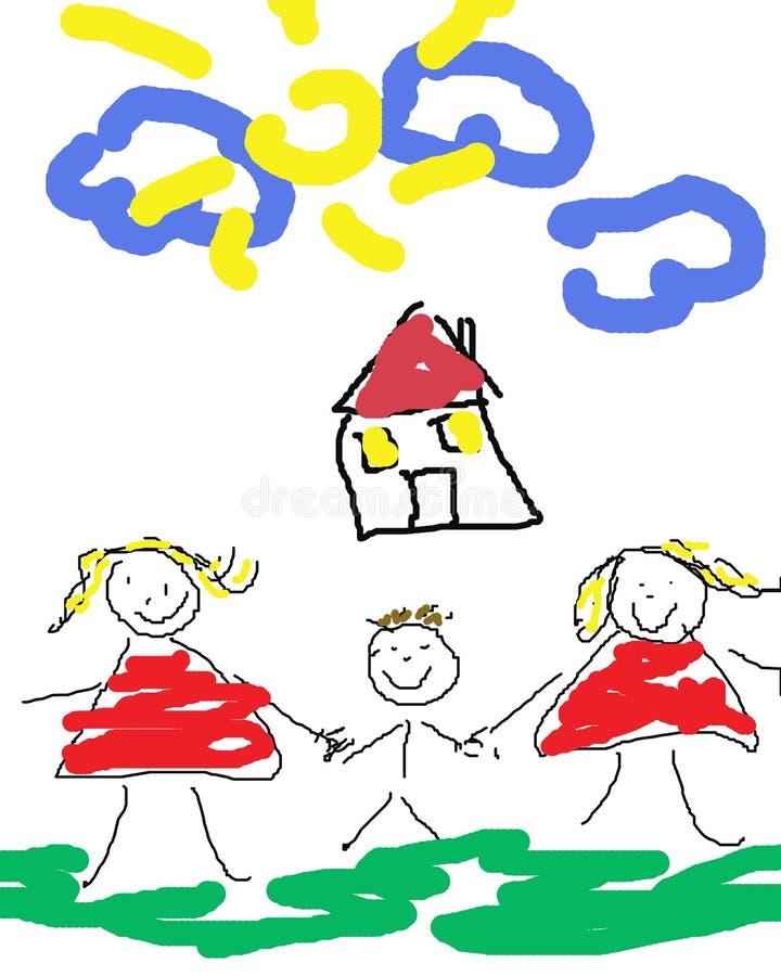 Gelukkige vrolijke familie stock illustratie