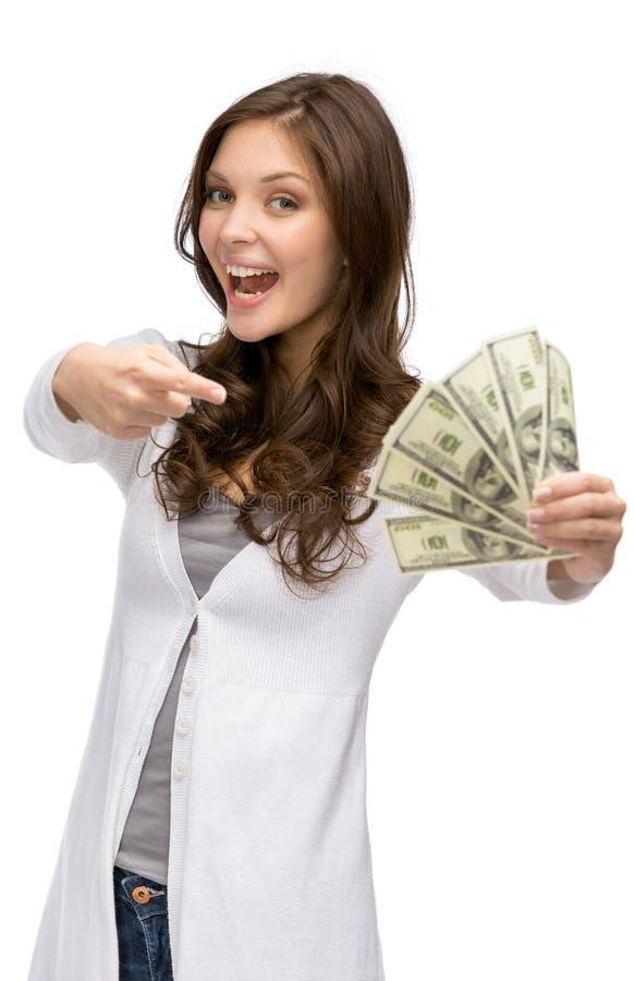 Gelukkige vrouw die contant geld overhandigen royalty-vrije stock foto