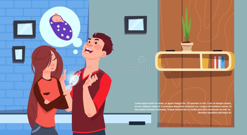 Gelukkige Vrouw die Man Positieve Zwangerschapstest tonen Jong Geboortenregelingouderschap vector illustratie