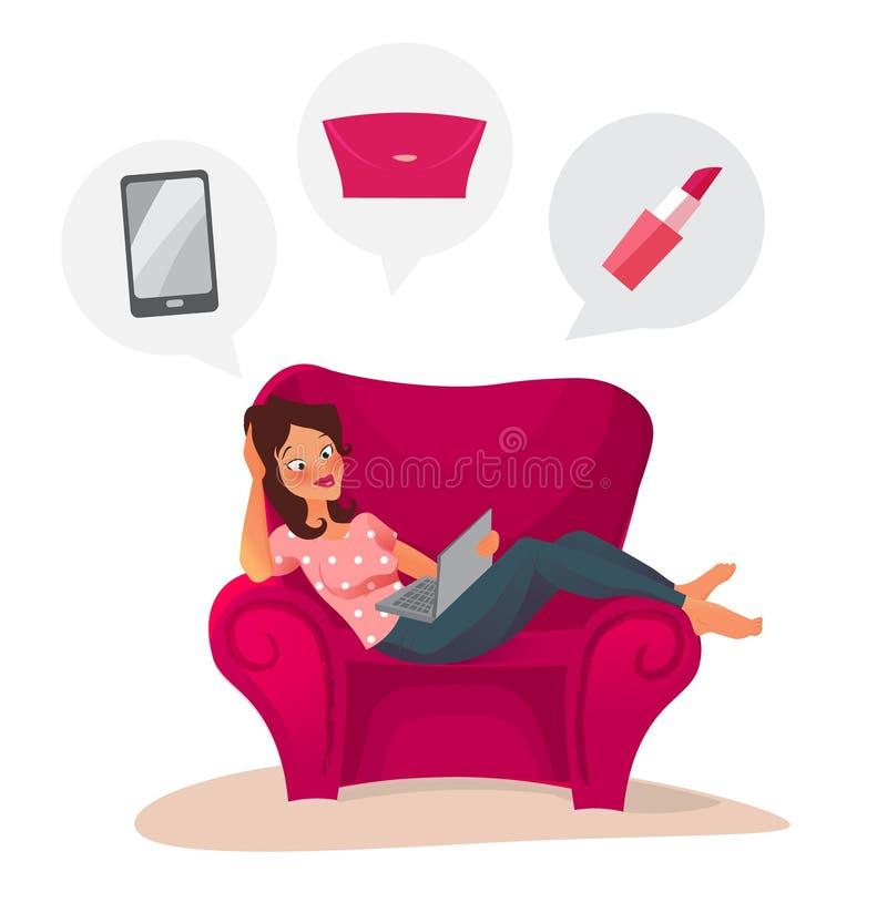 Gelukkige vrouw die online thuis het winkelen doen vector illustratie