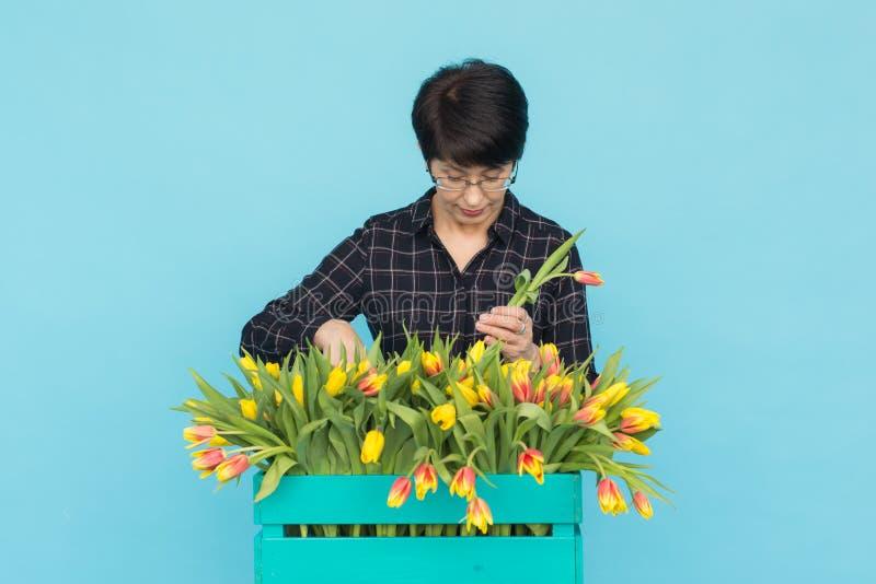 Gelukkige vrouw die op middelbare leeftijd met glazen doos van tulpen op blauwe achtergrond houden royalty-vrije stock foto's