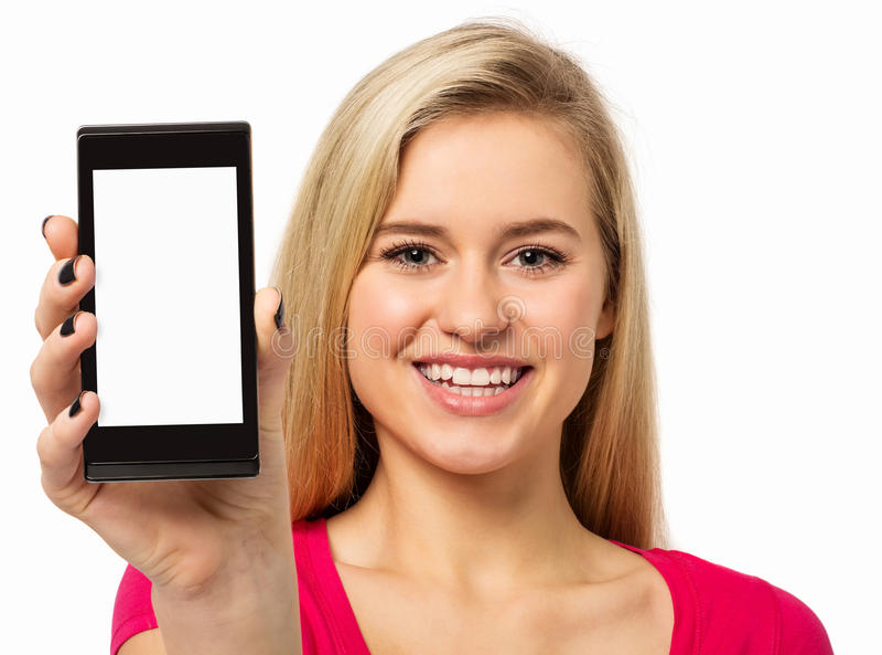 Gelukkige Vrouw die Slimme Telefoon tonen royalty-vrije stock fotografie