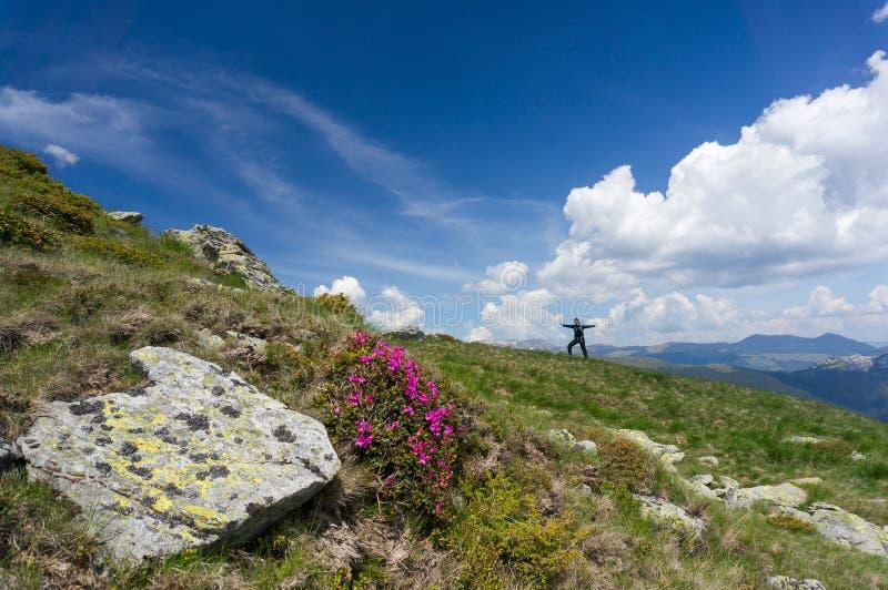 Gelukkige vrouw die van de bergen genieten royalty-vrije stock afbeeldingen