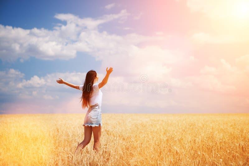Gelukkige vrouw die van het leven op de schoonheid van de gebiedsaard, de blauwe hemel en het gebied met gouden tarwe genieten Op stock afbeelding