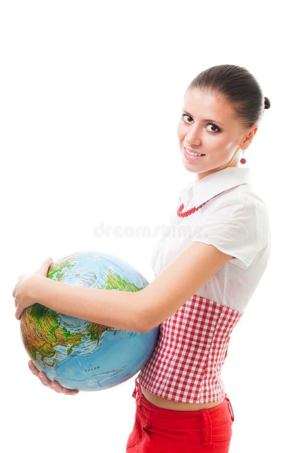Gelukkige vrouw met een bol stock fotografie