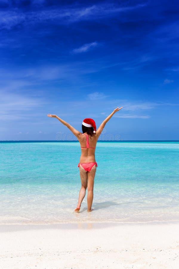 Gelukkige vrouw met een Kerstmanhoed royalty-vrije stock foto's