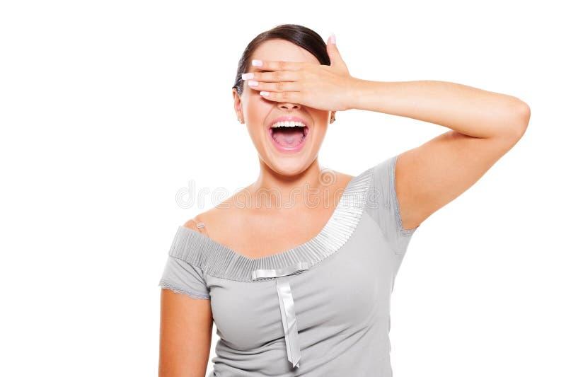 Gelukkige vrouw met gesloten ogen door hand stock foto's