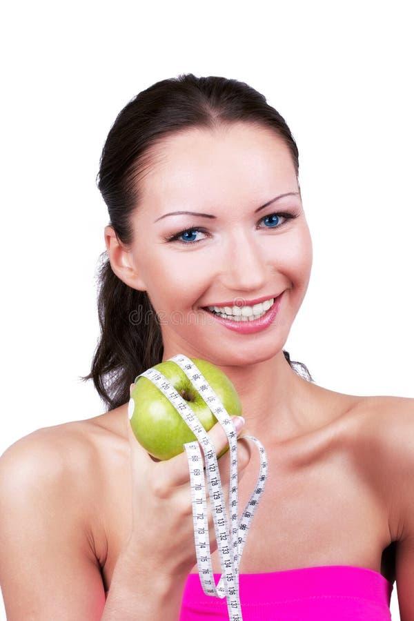 Gelukkige vrouw op dieet royalty-vrije stock foto