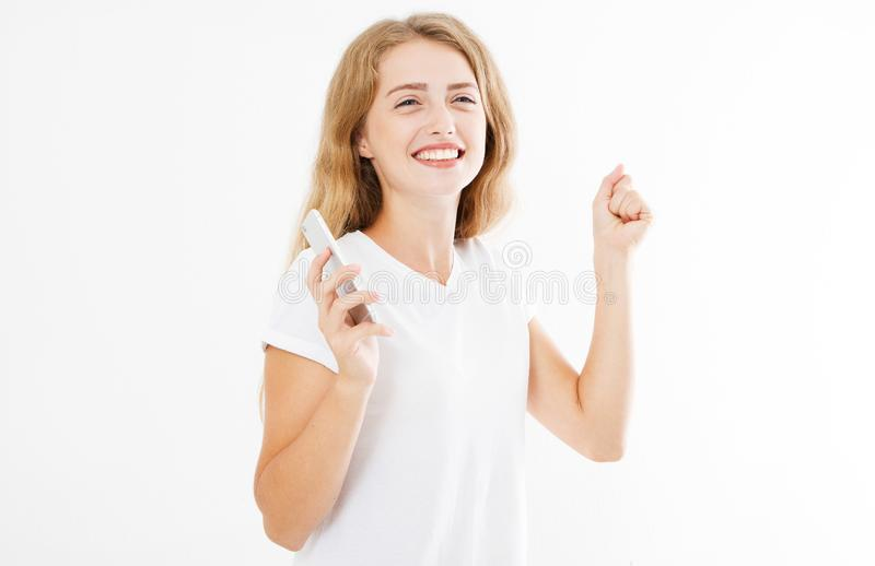 Gelukkige vrouw op witte achtergrond, immens menselijk geluk royalty-vrije stock foto's