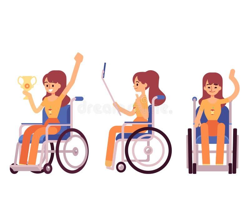 Gelukkige vrouw in rolstoel - beeldverhaalpersoon met handicap die en ondanks handicap glimlachen winnen vector illustratie