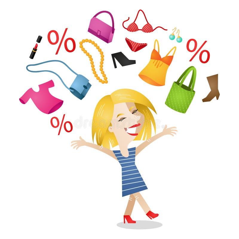 Gelukkige vrouw shopaholic het winkelen punten royalty-vrije illustratie