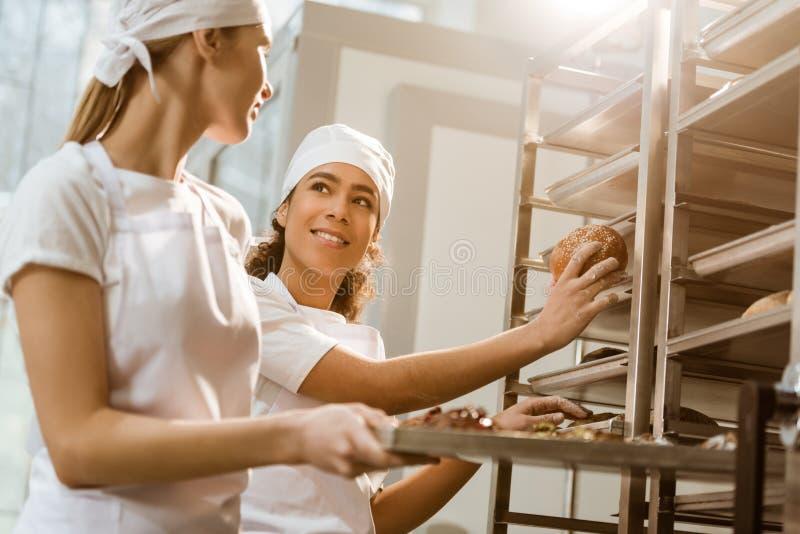 gelukkige vrouwelijke bakkers die vers gebakje op planken zetten stock afbeeldingen