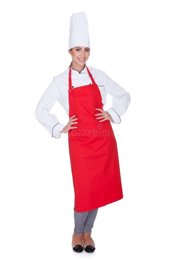 Gelukkige vrouwelijke chef-kok stock foto