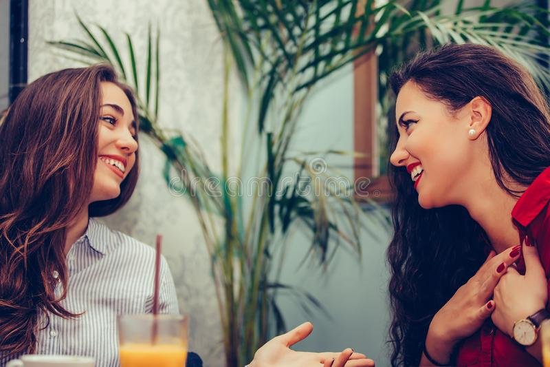 Gelukkige vrouwelijke en vrienden die elkaar in een koffie spreken kijken royalty-vrije stock foto